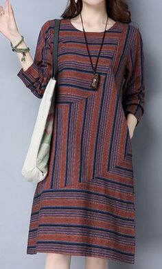 New women loose one size fit dress maxi ethnic stripes pocket tunic robe fashion