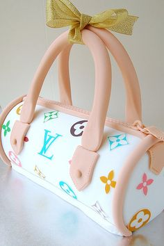 LV Bag Cake.  Learn How to Decorate Cakes - Visit Online ABC Cake Decorating Classes on http://CakeDecoratingCoursesOnline.com