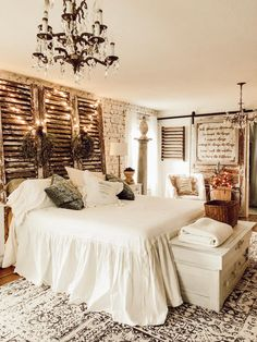 Christmas in the Master Bedroom - House on Winchester - July 06 2019 at Farmhouse Style Bedrooms, French Country Bedrooms, Farmhouse Bedroom Decor, Farmhouse Ideas, French Farmhouse, Country Master Bedroom, Master Bedroom Design, Country Bedroom Design, Master Suite