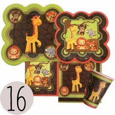 Funfari - Fun Safari Jungle - Party Tableware Plates, Cups, Napkins - Bundle for 16