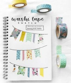 Washi tape has become one of the most popular bullet journal supplies. The fact that there are so many different looking washi tapes to collect, and that they have other uses outside of bullet journaling, . Bullet Journal Washi Tape, Bullet Journal 2020, Bullet Journal Notebook, Bullet Journal Ideas Pages, Bullet Journal Spread, Bullet Journal Layout, Bullet Journal Inspiration, Planner Journal, Swatch
