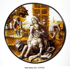 Stained Glass Roundel with Delilah Cutting the Hair of Samson, 1520 - Stock Image