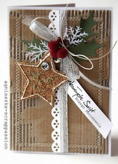 Love this handmade Christmas card- Would be a BEAUTIFUL idea for wrapping too!!