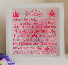 New Baby Girl Gift, Baby Shower Gift, Princess Picture Frame, Baby Girls Nursery Box Frame, Girls Bedroom Decor, Wall Art, Princess Quote