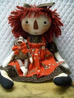 Primitive Cute Raggedy Ann type doll & sock by yellowsweetpotato