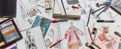 Karl Lagerfeld, Modemethode, 2015. Farbstift auf Canson-Papier