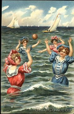 vintage water polo postcard...  wow things have changed!