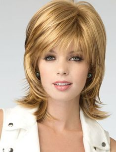 Buy BAILEY by Rene of Paris | On Sale from Wig Salon Long Curly Hair, Curly Hair Styles, Thick Hair, Medium Layered Hair, Wavy Bob Hairstyles, Shoulder Length Hair, Blonde Color, Synthetic Wigs, Photomontage