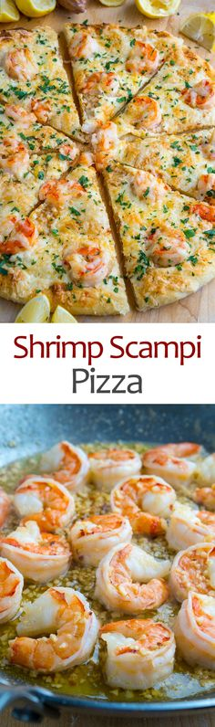 Shrimp Scampi Pizza Recipe : A quick, easy and divinely tasty shrimp pizza in a garlic butter sauce! Shrimp Dishes, Shrimp Recipes, Pizza Recipes, Fish Recipes, Cooking Recipes, Cheese Recipes, I Love Food, Good Food, Yummy Food
