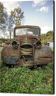 Automobile Canvas Print featuring the photograph Old Junker Car by Edward Fielding