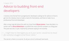 Advice to budding front-end developers