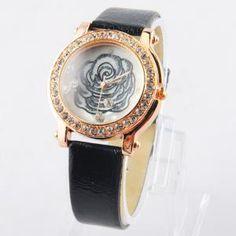 Armbanduhr Anzeige mit Dots Hour Marks Blumen gemusterten glänzend mit Strass-Dekoration für weiblich S1325 (Schwarz)