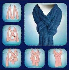 Great way to tie a scarf! I'm using this the next time I knit a nice scarf. If I'm gifting the scarf, I'll add sketches of this (and some other scarf knots) to the card. Scarf Knots, Braided Scarf, Scarf Wrap, Tie A Scarf, Sashay Scarf, Tie Knots, Scarf Belt, Pashmina Scarf, Scarf Hanger