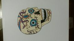 I just love skulls. Especially ones that look like this. Another one of my MAAAAAANY digital stamps coloured in with copic markers