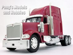 The LongHauler series by NewRay are models at 1/32 scale. They measure about 11 inches long by about 3 inches wide by about 5 inches high (to the top of the cab) depending on the particular model. The