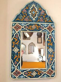 Painted Moroccan Mirror: Blue