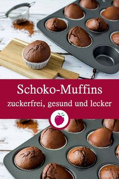 Gesunde Schoko-Muffins - my list of delicious and healthy recipes Simple Muffin Recipe, Healthy Muffin Recipes, Donut Recipes, Healthy Chocolate Muffins, Healthy Muffins, Muffins Weight Watchers, Brownies Cacao, Dessert Nouvel An, Muffins Sains