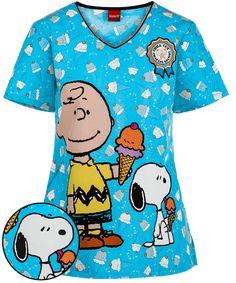 41a79251c37 Cherokee Tooniforms Peanuts Chill Charlie Brown V-Neck Print Scrub Top