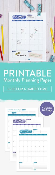 Printable Monthly Planner Pages for 2018, free printable planner, printable planner, monthly planner, free monthly planning pages, monthly planner pages,