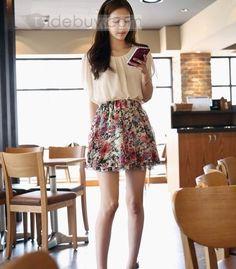 グラマラス韓国スタイルシフォンペティ花スカート