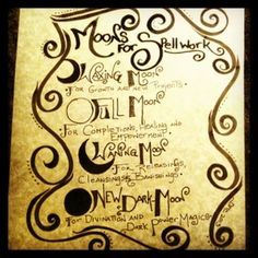 Moon Phase Book of Shadows Page - for the aspiring Witch!  by Sun moon Stars Herbals