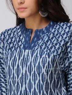 Indigo Dabu-printed Handwoven Cotton Kurta Neck Designs For Suits, Neckline Designs, Designs For Dresses, Dress Neck Designs, Blouse Designs, Churidar Neck Designs, Kurta Neck Design, Kurta Designs Women, Salwar Designs