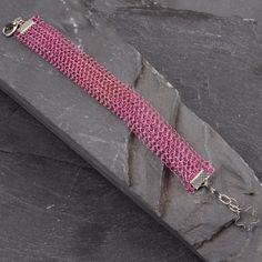 Rose Pink Bracelet  Wire Crochet Dainty Bracelet by StudioDjewelry, $61.00