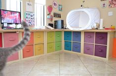 Check out all of this craft room storage in this awesome office makeover. And it's so lovely and colorful! Sewing Room Organization, Craft Room Storage, Cube Storage, Office Storage, Organization Ideas, Storage Ideas, Sewing Spaces, Sewing Rooms, Kitchen Trends 2018