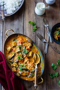 Curried Roasted Eggplant with Smoked Cardamom and Coconut Milk by bojongourmet #Eggplant #Curry
