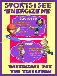 """Classroom Energizers- Sports I See... """"Energize Me"""""""