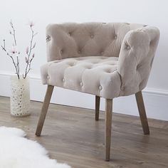 Natural Suede Button Back Occasional Chair £499 #seude #backbutton #chair