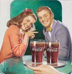 Sweet soda shop date ~ Haddon Sundblom, ca 1940s