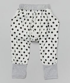 Look at this #zulilyfind! White & Black Polka Dot Harem Pants - Infant, Toddler & Girls by Leighton Alexander #zulilyfinds