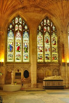 Stained glass window in Peterborough Cathedral, England. For over 1300 years, worshiping Almighty God.
