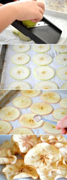 Apple Chips Ingredients: 2 golden delicious apples* 1/8 tsp ground cinnamon 1 tsp sugar Directions: Preheat the oven to 225 degrees F. Stir together the cinnamon and sugar to combine. Set aside. Decide whether or not to core your apples, then slice them thinly with a mandolin slicer. Line two sheet pans with parchment paper, and place the apple slices side by side on the parchment, in a single layer. Make sure not to overlap the apple slices or place them on top of each other, otherwise they…