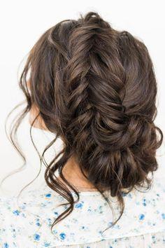 Crown braid with messy updo wedding hairstyle idea #updo #crownbraid #messyupdo #uniquehairstyle #upstyle #weddinghair