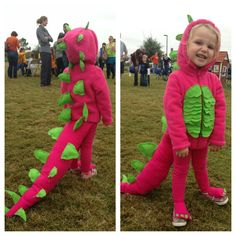 Pink DIY dinosaur costume. Hoodie and leggings from Walmart. I added felt plates and the ruffled belly. Then I made covers for her shoes and hands from extra felt.