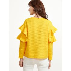 Yellow Polka Dot Embossed Layered Ruffle Sleeve Blouse (780 RUB) via Polyvore featuring tops, blouses, dot blouse, yellow top, layered tops, frill sleeve top и flutter sleeve blouse