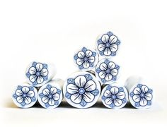 Polymer clay millefiori cane  Dark Blue and white by RonitGolan, $4.95