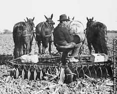 vintage photo of farmer on horse-drawn disc plow