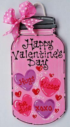 HAPPY VALENTINE'S DAY Mason Jar SIGN..Wall Door Hanger Hanging Plaque Holiday #DesignedHandcraftedbyMillerFamilyWoodcrafts