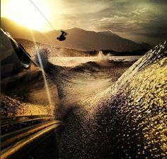 Sunset wakeboarding #SaltSoaked #SaltWater Get your Salt Soaked apparel at www.zealdesignz.com