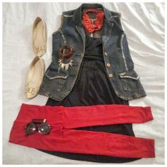Edgy office wear that uses vibrant reds and distressed denim to set this look apart, this look is all about getting you noticed, in a good way.