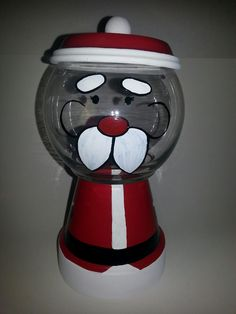 Santa candy jar. Clay pot for body and hat. Glass bowl for head. So cute!! Fill with yummy candies :)
