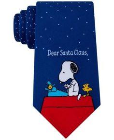 Peanuts Men's Dear Santa Clause Tie - Blue