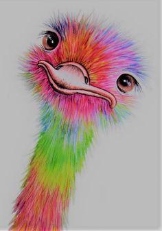 Cool Art Drawings, Bird Drawings, Pencil Art Drawings, Realistic Drawings, Colorful Drawings, Art Drawings Sketches, Animal Drawings, Pop Art Drawing, Color Pencil Art