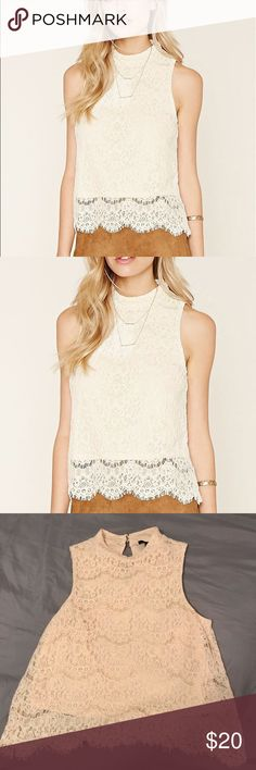 Forever 21 White Lace Blouse NWOT Forever 21 White Lace Blouse! this beautiful top comes in a cream color with lace detailing, a mock neck, and 2 buttons on the back of the neck to hook!    💌 Size M 💌 Make Offers!! Forever 21 Tops