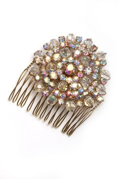 This vintage rhinestone piece features both faceted glass beads and rhinestones with an AB (iridescent) finish. Made from a high-quality vintage piece. Hand-soldered in The Ritzy Rose's studio in Pick