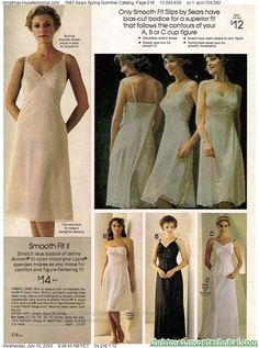 1983 Sears Spring Summer Catalog, Page 216 - Christmas Catalogs & Holiday Wishbooks Christmas Catalogs, Vintage Lingerie, Stretch Lace, Bodice, Spring Summer, Slip On, Formal Dresses, Lady, Holiday