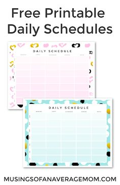 Pretty Free Printable Daily Schedules - two different versions to choose from! Daily Schedule Printable, Daily Schedules, Printable Planner, Free Printables, Free Planner, Wall Art Quotes, Teacher Appreciation, About Me Blog, How To Plan